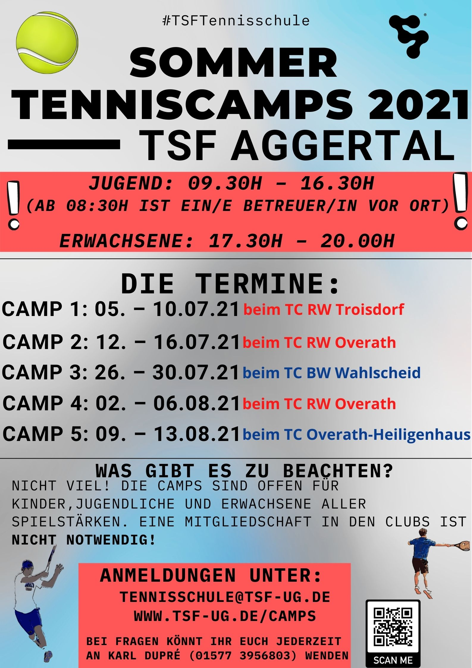 Tenniscamps Tcoh Sommer 2021